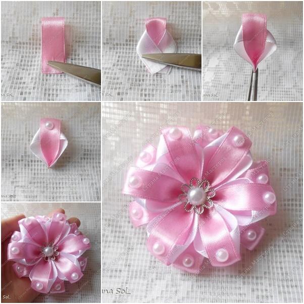 szaténrózsa virágkészítés szaténvirág varrás virág DIY csináld magad