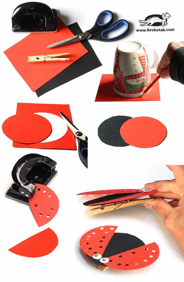 papír papírdísz katicabogár