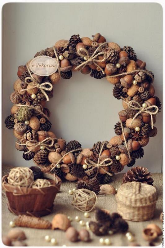 ősz gesztenye dekoráció ajtódísz koszorú