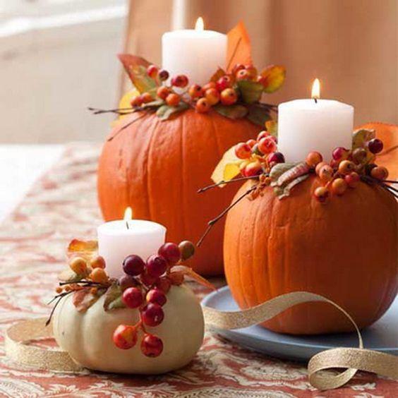 ősz dekoráció tök tökgyertya