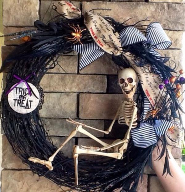 halloween koszorú ajtódísz tökfaragás