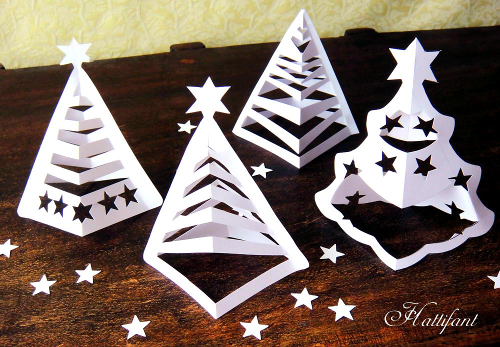 karácsony papírdísz papírfenyő ablakdísz