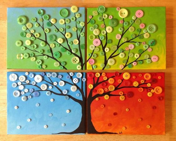 Calendar Ideas For Kids To Make : Alkossunk négy évszakos faliképek színes Ötletek