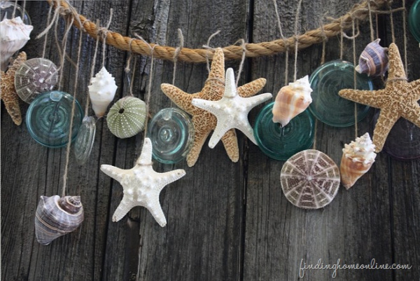 nyár ajtódísz fűzér girland tengerpart kagyló csiga
