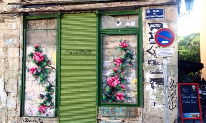 hímzett graffiti öko street art