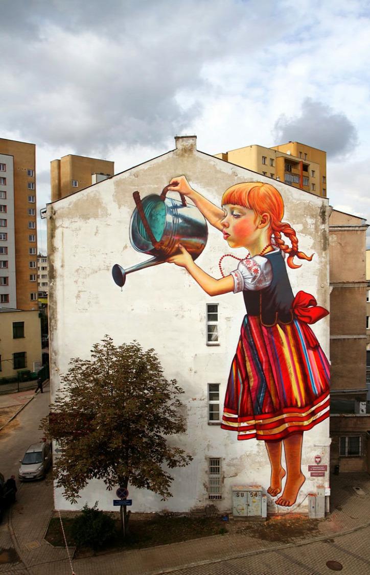 street art öko-graffiti városi növények urbánus környezet
