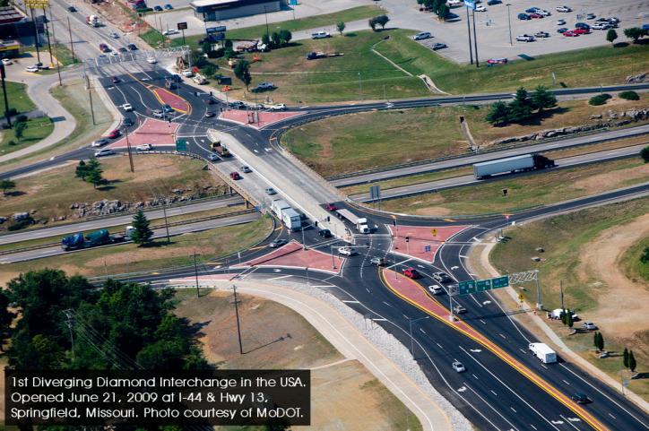 DDI Diverging Diamond Interchange közlekedés környezetvédelem