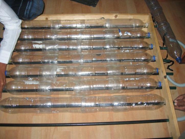 újrahasznosítás PET-palack műanyag vízmelegítés napenergia zöldenergia
