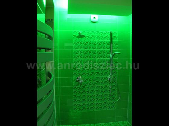 A zuhanyzóba telepített zöld led szalag nyugtató élményt biztosít a tusolás közben!