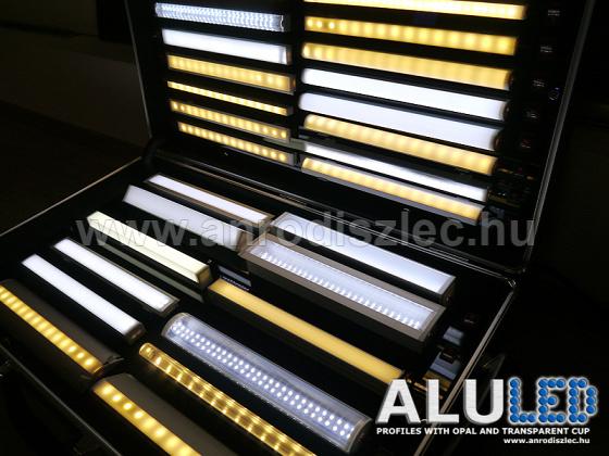 ALP Alu led profilok LED szalaggal. Forrás: www.anrodiszlec.hu