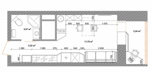 konyha nappali kicsi alapterület előtér 3D terv erkély tárolás modern otthoni iroda amerikai konyha