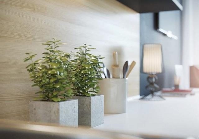 konyha nappali kicsi alapterület előtér 3D terv modern otthoni iroda