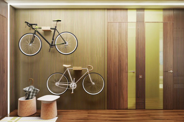gyermekszoba hálószoba konyha modern nappali 3D terv bicikli erkély
