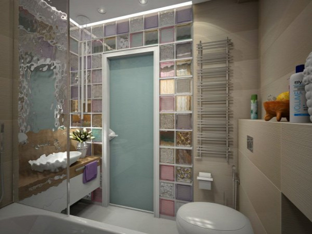 fürdőszoba modern üvegtégla 3D terv