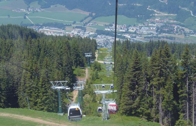 Ausztria Stájerország Schladming Planai kis-kabinos felvonó hegy