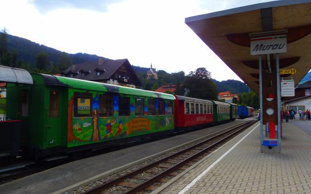 Ausztria Stájerország vonat vasút Murau Kreischberg
