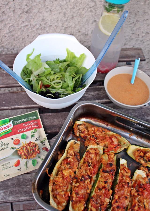 cukkini bolognai knorr knorr 100% természetes alapok paradicsom hagyma rohanós vacsorák bazsalikom oregánó sajt darált hús promóció