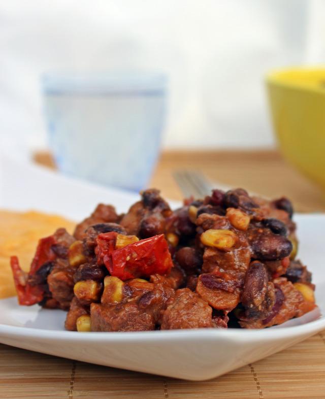 ragu sertéslapocka sertés lapocka kukorica borsó bab chili paprika paprika paradicsom hagyma fokhagyma vörösbor fincsi ebédek