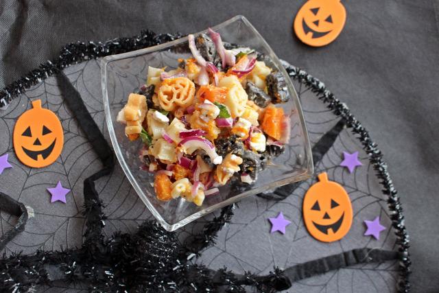 tészta bazsalikom sajt feta gorgonzola sütőtök olívaolaj citrom hagyma lila hagyma rohanós vacsorák halloween