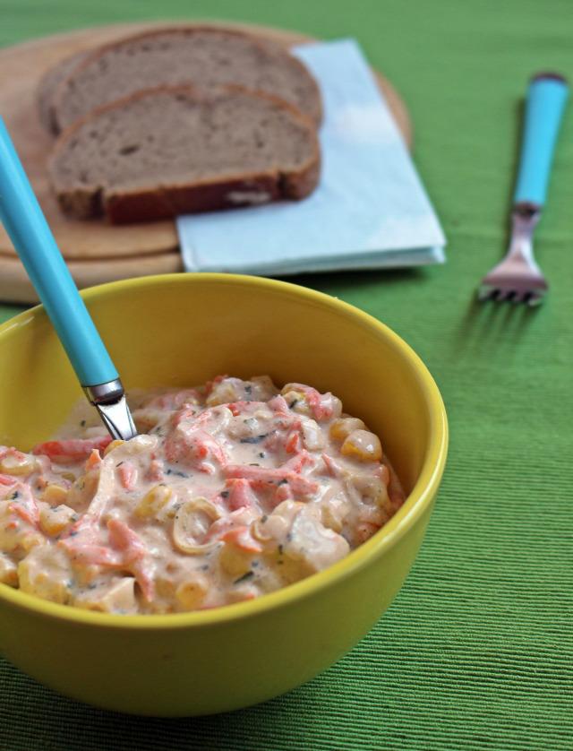 rohanós vacsorák krumpli grillcsirke csirke kukorica répa tejföl póréhagyma majonéz mustár bors petrezselyem hidegtál saláta