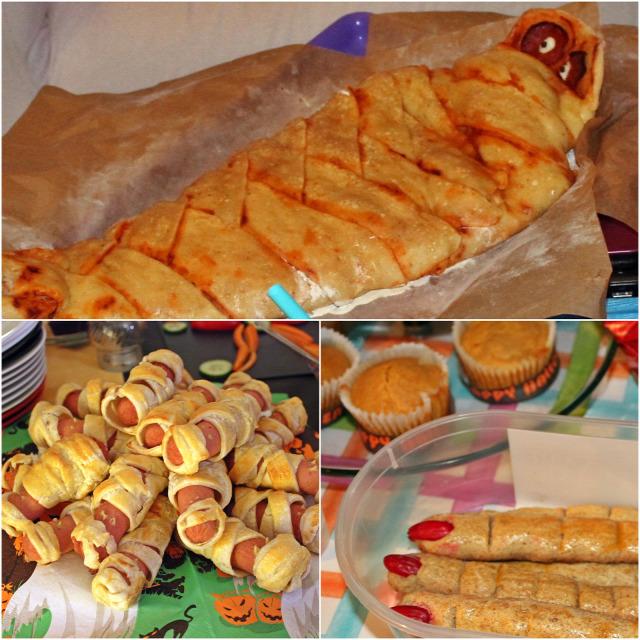 halloween vendégvárók leveles tészta pizza virsli tojás olíva bogyó saláta salsa szósz sütőtök muffin gumicukor brownie