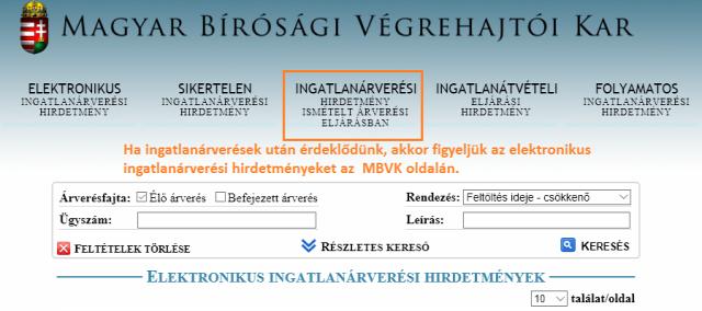 ingatlanárverés mbvk.hu elektronikus ingatlanárverési hirdetmények ingatlan licit árverés végrehajtás Budapest Magyarország Ingatlanműhely