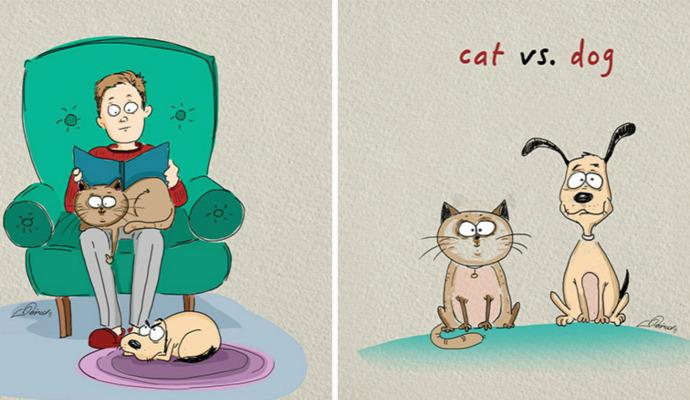 színes kiemelt macskák kutyák különbség illusztráció moszkvai