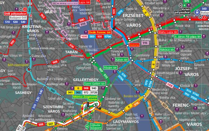 Budapest magazin BKK térkép villamos közút gyorsvasút metró HÉV éjszaka busz