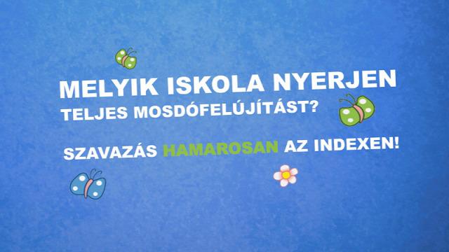 mosdófelújítási program iskolai mosdó mosdó felújítás KLIK Klebelsberg Intézményfenntartó Központ Domestos Unilever fertőtlenítés tisztítószer higiénia általános iskola szavazás