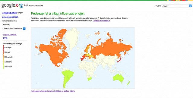 influenzatérkép influenzafigyelés Google Flutrends influenza aktivitás influenzaszezon Google influenzavírus influenzajárvány influenza