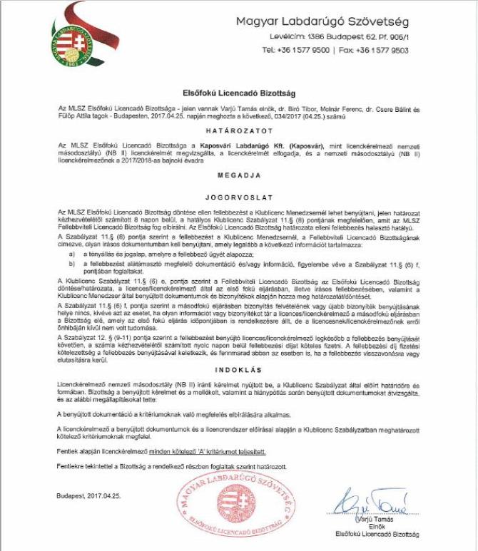 MLSZ Magyar Labdarúgó Szövetség Licenc NB II. megvan elsőre foci magyarfoci Rákóczi Kaposvári Rákóczi FC