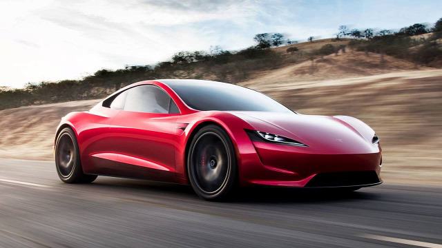 Tesla Roadster elektromos autó sprotkocsi kupé gyors rekord Bugatti Koenigsegg Forma-1