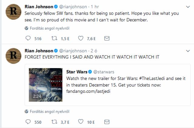 Star Wars Az utolsó Jedik The last Jedi Az utolsó jedik előzetes