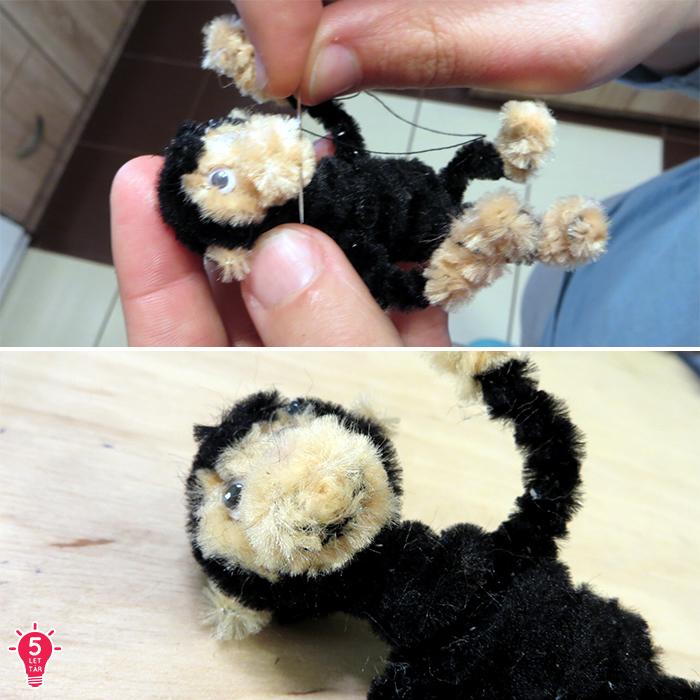 DIY játék ajándék dekoráció gyerekekkel család kreatív kreatív ötletek majom zsenília drót közepes ragasztópisztoly olcsó állat