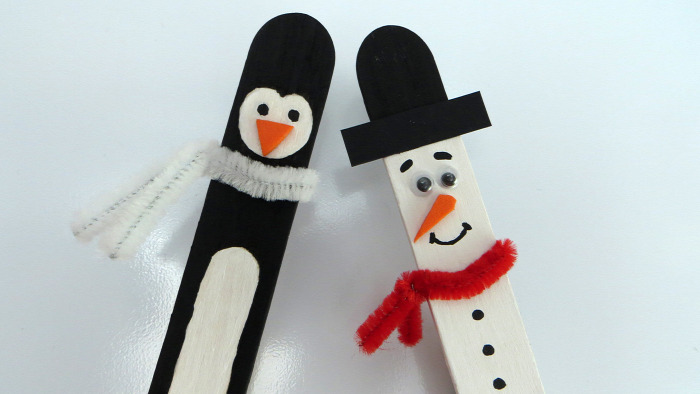DIY dekorgumi spatula facsipesz dekoráció könnyű festés gyerekekkel hűtőmágnes hóember pingvin konyha tél mágnes olcsó