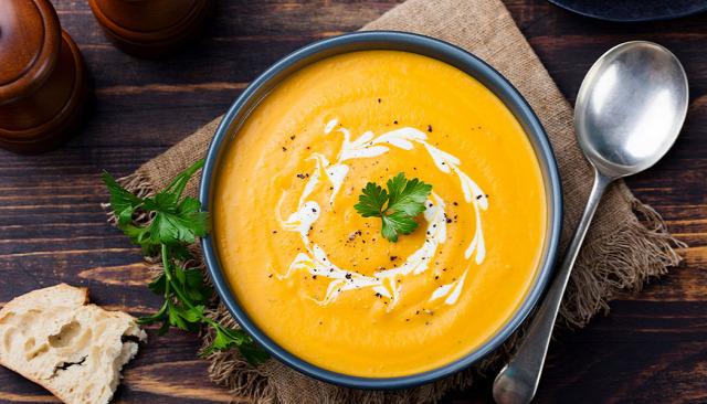 recept vegán kiemelt leves diéta táplálkozás sütőtök krémleves vegetáriánus