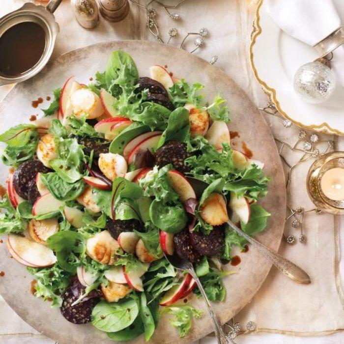 egészségünkre táplálkozás gasztro recept egészség alma véres hurka  kelbimbó rukkola