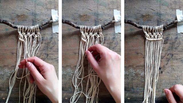 DIY csinaldmagad makramé falidísz dekor fonal