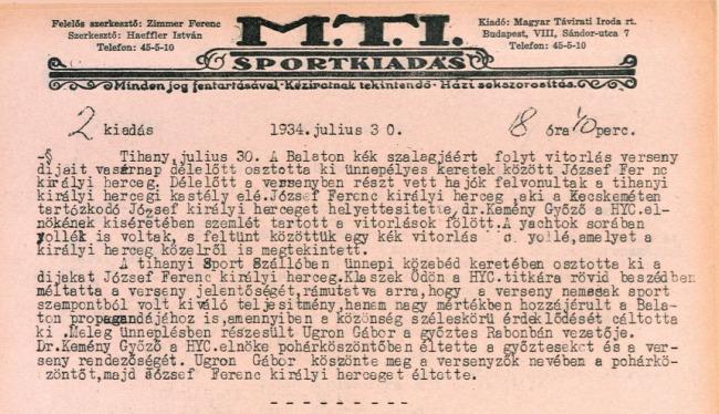 Kékszalag 50. Kékszalag Erste Nagydíj történelem verseny Magyar Vitorlás Szövetség 1934