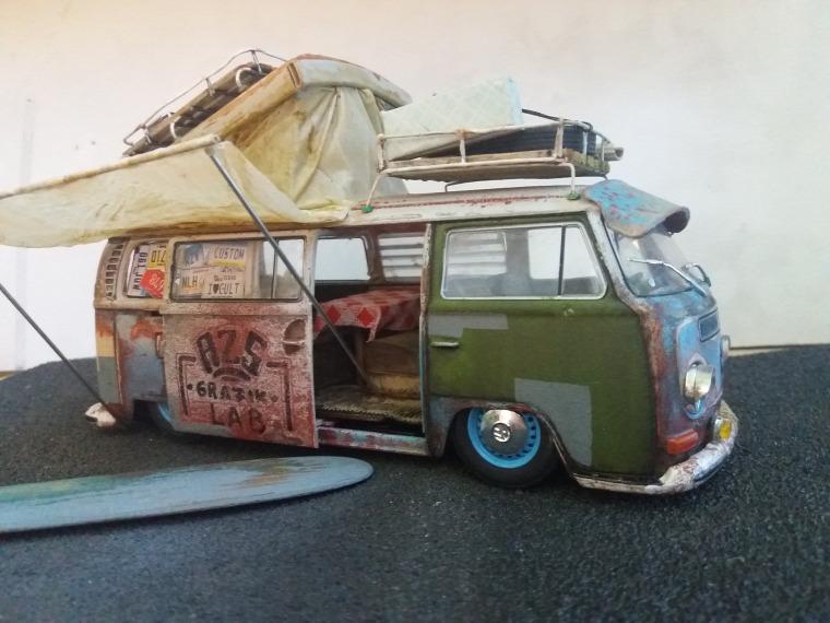 azs grafiklab scalemodel weathered weatheringmodels vw t2 camper westfalia beach car