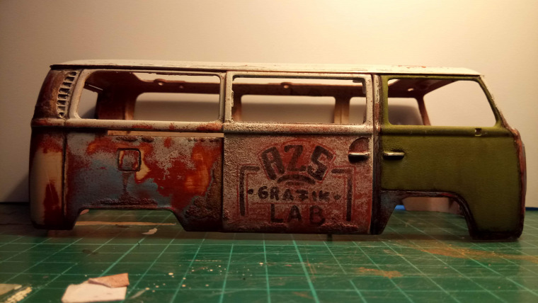 azs grafiklab scalemodel weathered weatheringmodels vw t2 camper westfalia beach car