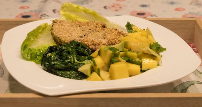 főétel utazások ízei tonhal spenót avokádó mangó azori szigetek portugália gluténmentes koriander finom egyszerű gyors