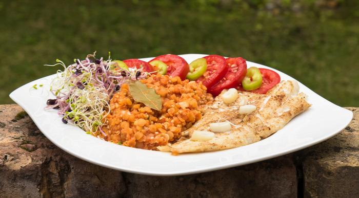 főétel tőkehalfilé vöröslencse bulgur csíra gyors finom könnyed vitamindús nyári
