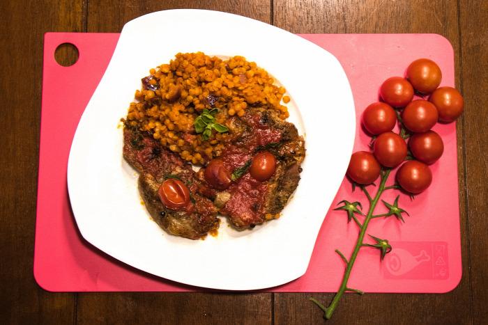 főétel vöröslencse karaj paradicsom bazsalikom egyszerű gyors finom gluténmentes laktózmentes