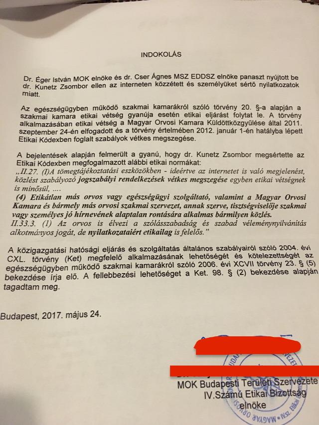 #égeristván #cserágnes #magyarorvosikamara #etikaivizsgálat #deklaráció