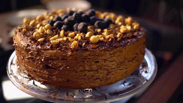 csokoládé torta mogyoró édesség sütemény