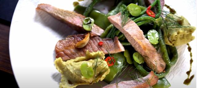papszelet mangalica zöldbab krumplipüré tökmagolaj őszi recept