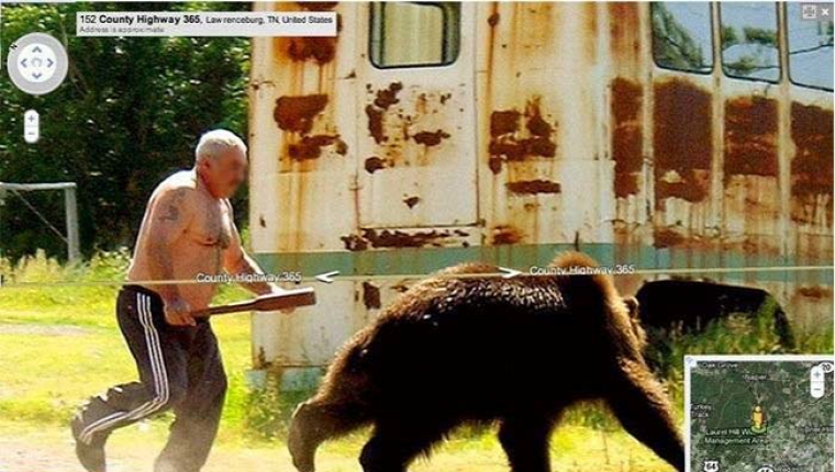 Russian guy chasing a bear.