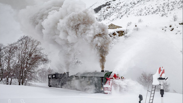 vasút mozdony gőz hóeltakarító