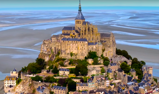 Normandia drón Mont Saint-Michel